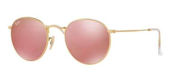 Óculos Rayban Round Rb3447 Rosa Espelhado Feminino + Brinde