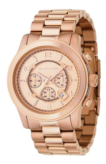 Relógio Michael Kors Mk8096 Rose Gold Oversized Completo