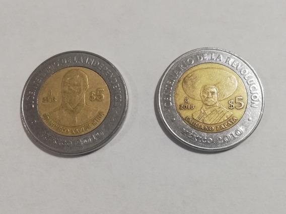2 Moneda 5 Pesos Colección Emiliano Zapata Francisco Mina
