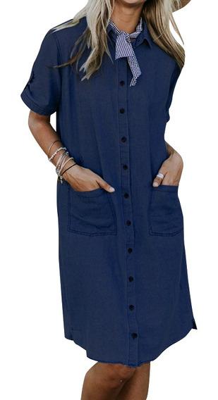 Mujer Cuello Turn Down Camisa Vestido Botones Abajo Denim Az