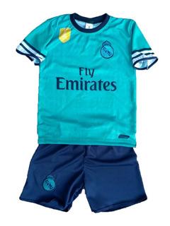 Uniforme Infantil Real Madrid + Meião + Caneleira + Bola