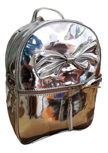 Imagen 1 de 2 de Bolsa Mochila Plateada Con Cierres Premium