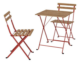 Mesa Y Sillas Para Jardín Marca Ikea Color Rojo