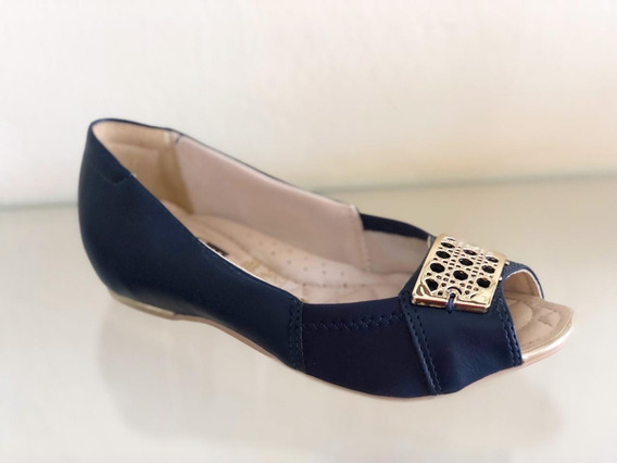 Peep Toe Sapatilha Feminina Comfortflex 1676405 Azul Joanete