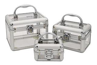 Maletin Set X 3 Porta Cosmeticos Esmalte Bijouterie Acrilico