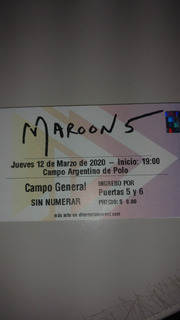 Maroon 5 Campo General Reprogramado Marzo 2021