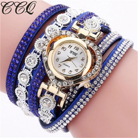 Relógio Analógico Feminino Com Bracelete De Brilhantes