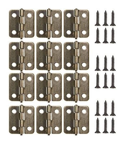 Latón Antiguo 18mm Mini Bisagras Paquete De 12 Con Tornillos