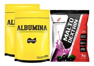 2x Albumina 500g Naturovos + Malto Dextrina 1kg Body