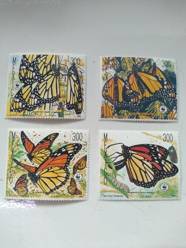 Imagen 1 de 3 de 4 Timbres Postales Mariposa Monarca Mexico 1988  Nuevo