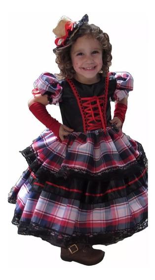 Vestido De Festa Junina Caipira Infantil Com Luva