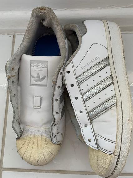 Tênis Vintage adidas Superstar Prata Original Tam 36