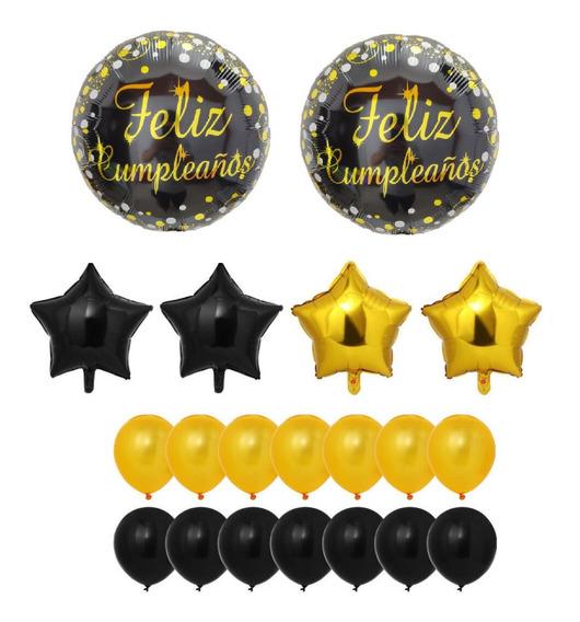 Globos Combo Feliz Cumpleaños Dorado Y Negro Estrellas
