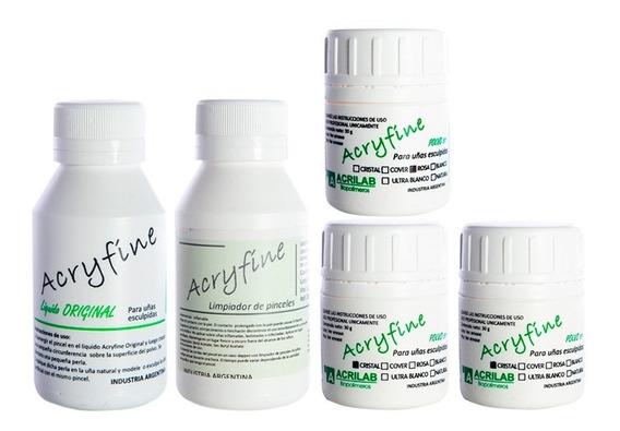 Acryfine Kit X3 Polímeros 30gr + Monómero 100ml + Extras