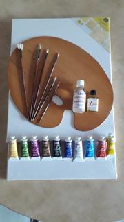 Kit Para Pintar Al Oleo Con Paleta Ovalada De 35×45 Cm.