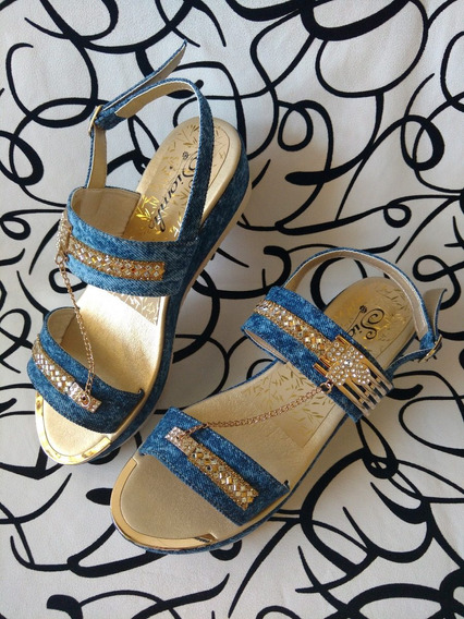 Zapatos Calzados Sandalia En Jeans De Moda Dama Envío Gratis