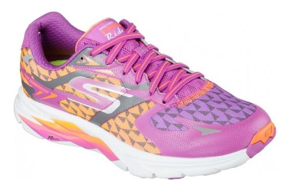 Skechers Zapatillas Mujer Go Run Ride 5 Naranja/violeta/gris