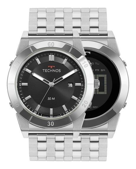 Relógio Technos Masc Curvas Prata 1s13cs/1p Dois Em Um