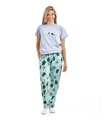 Imagen 1 de 5 de Pijama Largo Paltas Remera Gris - Store Mykonos