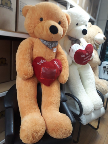 Imagem 1 de 3 de Urso Teddy Gigante Caramelo Pelúcia Grande 1,65 Mt + Coração