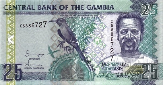 Grr-billete De Gambia 25 Dalasis 2006-2013, Ave