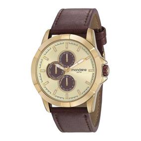 Mondaine Relógio Multifunção Vintage Marrom