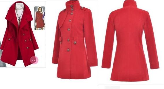 Abrigo Formal Largo Rojo Botones Cuello Moda Asiática