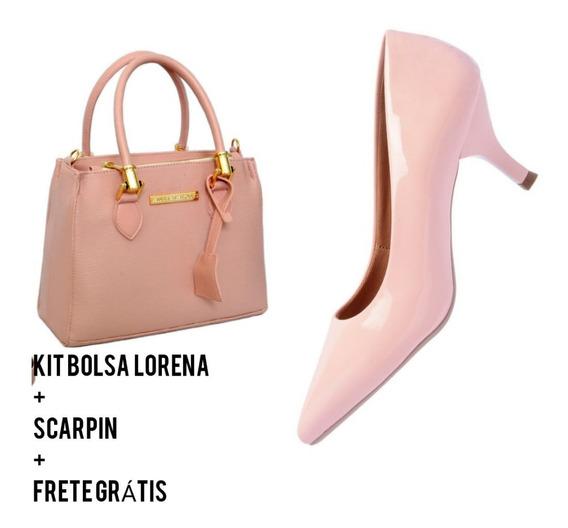 Kit Sapato Feminino Scarpin Bolsa Lorena Frete Grátis Clique