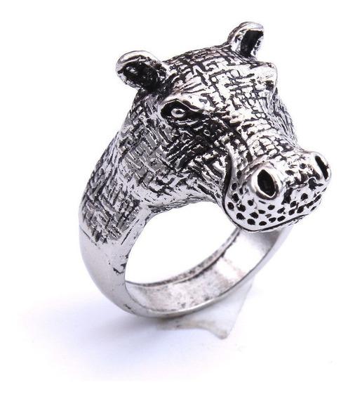 2x1 Anillo Hipopótamo Aluminio Egipto Suerte Talismán Amule