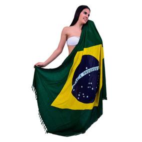 Saída De Praia Canga Bandeira Do Brasil Camisa Toalha Verão