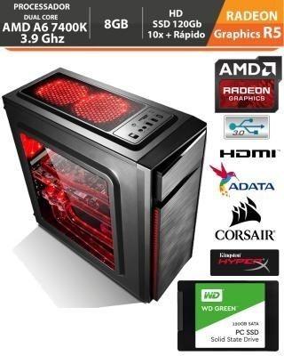 Pc Gamer Amd Apu A6 7400k 3.9ghz Radeon R5 Memória Ddr3 8gb + Gabinete Gamer + Hd Ssd 240gb + Monitor 19 + Acessórios