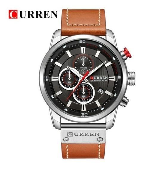 Relógio Masculino Luxo Original Couro Funcional Promoção