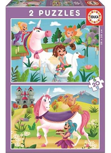 Puzzle Eduka Unicornios Y Hadas 2 X 20 - Giro Didáctico