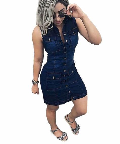 Vestido Jeans Feminino Curto Botões Primavera Verão