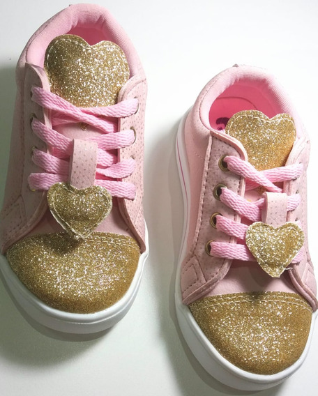 Tenis Rosa. Sapatenis Com Dourado. Sapato Infaltil Menina