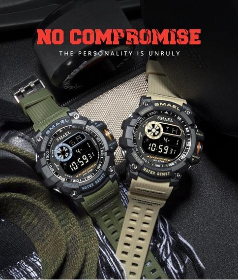 Relógio Smael 8010 Verde Militar Com Caixa E Garantia
