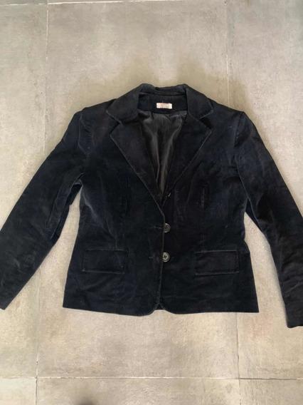 Blazer O Saco De Pana Negro Usado Pero Impecable!! Talle L