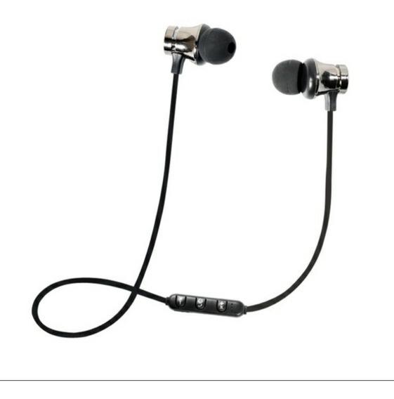 Fone De Ouvido Bluetooth V4.2 Wireless Prata Fio Preto