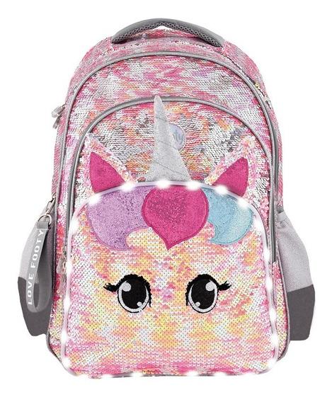 Mochila Footy Unicornio Con Luz Y Lentenjuelas Espalda 18
