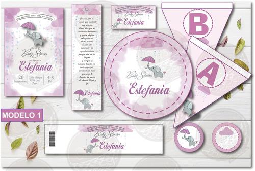 Imagen 1 de 1 de Kit Imprimible Baby Shower Elefantito Niña