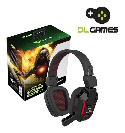 Headset Gamer Dlgames Soundgate D3, Led Vermelho, P2, Preto