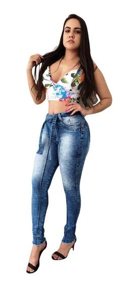 Calça Jeans Feminina Cintura Alta Levanta Bum Bum Modela