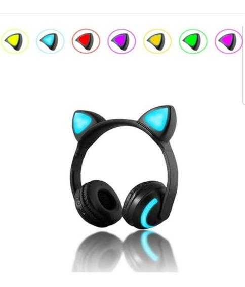Fone Bluetooth Gatinha Gata Com 7 Cores Led