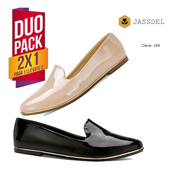 Zapato Calzado Casual Mujer Zapato De Piso Flat -negro/beige