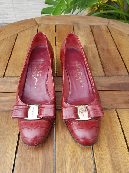 Sapato Vinho Craquelado | Salvatore Ferragamo (autentico)