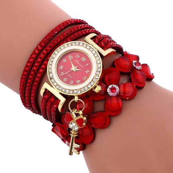 Relógio Bracelete Vermelho Strass Promoção Barato