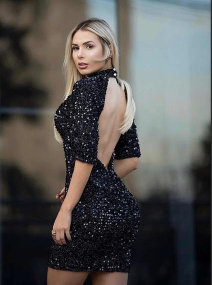 Vestido Paetê Luxo Balada Panicat Sexy