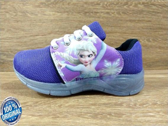 Tênis Luzinha Infantil Frozen Feminino Escolar Resistente