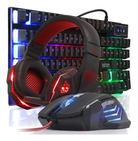 Kit Teclado Mouse 3200dpi Preto Headset Fone Gamer Iluminado