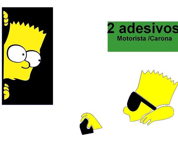 2 Adesivos Top Bart Simpson 1 Dirigindo E Outro Olhando